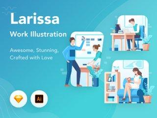 启动插图包包含10个插图,这些插图具有解释工作活动的独特场景。,Larissa:工作图