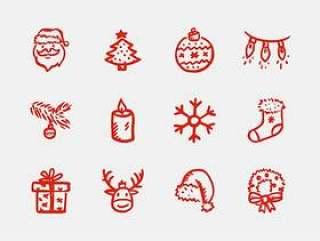 手绘圣诞图标