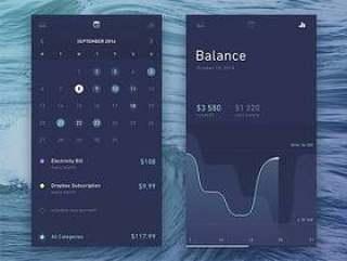 财务日历和统计应用界面