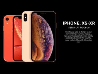 适用于Photoshop和Illustrator的Semi Flat iPhone XS和XR样机。,Semi Flat XS和XR