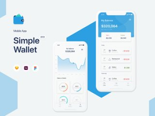 简单的Wallet App UI工具包,使用Sketch,XD和Figma,Simple Wallet App UI UX Kit设计