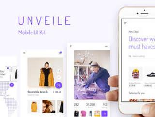 30屏幕电子商务,文章,社交iOS UI套件,揭开Fashion Mobile UI套件