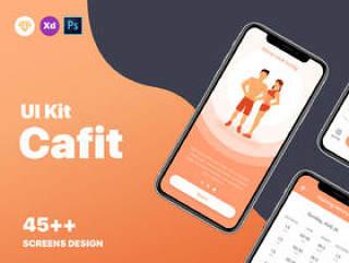 适用于Sketch,XD和Photoshop的健身和锻炼训练应用UI套件。,Cafit锻炼UI套件