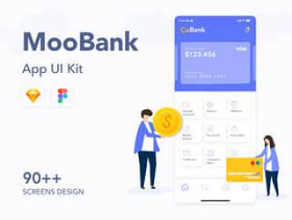 银行,金融和加密钱包应用UI工具包,MooBank UI工具包