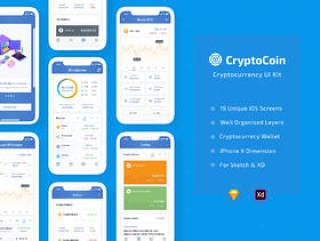 用于Sketch和XD的完美加密货币iOS应用程序UI工具包,CryptoCoin加密货币UI工具包