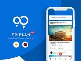 用于Sketch和XD的社交旅行平台移动应用UI工具包,Triplan 2.0
