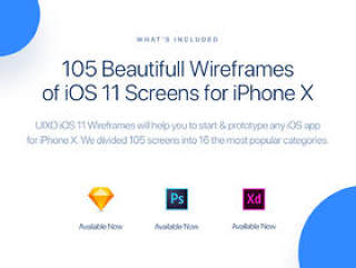 适用于iPhone X的105美丽线框,适用于iPhone X,UIXO iOS 11线框套件的屏幕