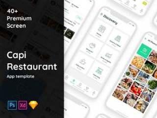 社交食品类别的40多种iOS屏幕的高品质包装。,Capi餐厅iOS UI套件