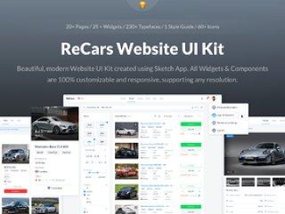 20多个完整页面,25个小部件,60多个图标和Web项目样式指南,ReCars网站UI工具包