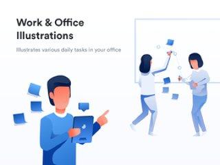 移动和桌面,工作和办公室插图的工作和办公室插图包