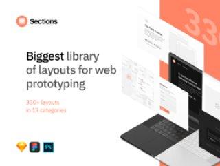 用于Web原型设计的最大布局库,Sections Wireframe Kit