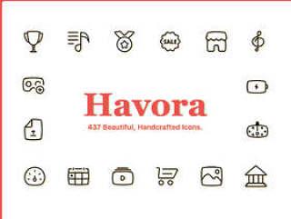 437个独特的优雅矢量图标在11类别。,Havora图标集