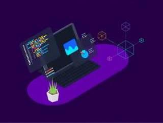 8区块链概念等距插图素描与插画。,区块链平台等距v.8