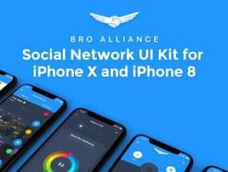 用于Sketch的下一代社交网络UI工具包,Bro Alliance iOS UI工具包
