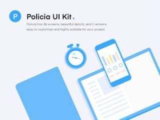用于iPhone 8的Sketch的书籍跟踪应用程序UI工具包,Policia UI工具包