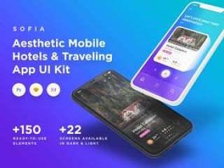 适用于Sketch,Photoshop和XD。,Sofia iOS UI Kit的优雅移动酒店和旅行UI工具包