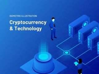 加密货币和技术等距插图素描和插画。加密和技术等距