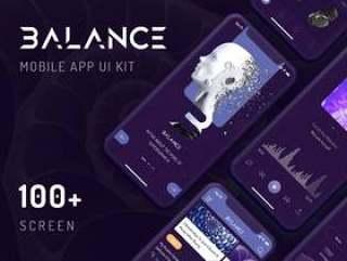 适用于Sketch和Adobe XD的9个类别中的100多个iPhone X黑屏,Balance Mobile UI Kit