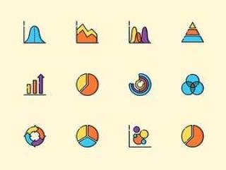 50 枚彩色图表图标