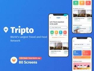 高品质的旅行和食品预订应用程序UI工具包,Tripto旅行和食品移动应用程序UI工具包