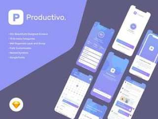 具有50多个iOS屏幕的Productivity Mobile App UI Kit,采用Sketch。,Productivo Mobile UI Kit设计