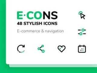 48矢量线图标的网站,导航和电子商务。,E-CONS图标集