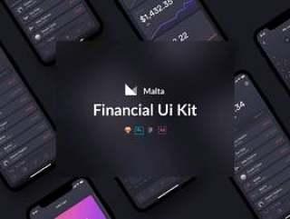 高质量的20多个iOS iPhone X财务应用程序屏幕包,马耳他财务UI工具包