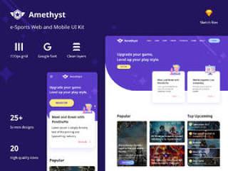 40多个组件和28页网站和移动,紫水晶 - Esports素描模板