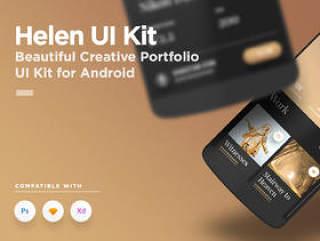 移动产品组合应用程序UI工具包 - 用于Photoshop,Sketch和XD,Helen Android UI工具包
