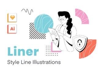 Liner是包含办公环境的插图集。具有非常独特的数字和印刷风格。衬里 - 线型插图