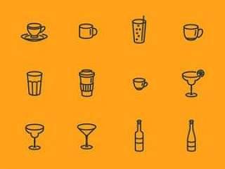 玻璃瓶和杯子图标集