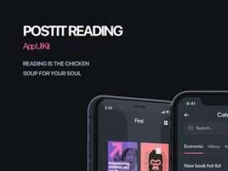 在Sketch。中设计的iOS电子书阅读应用UI工具包,PostIt iOS UI工具包