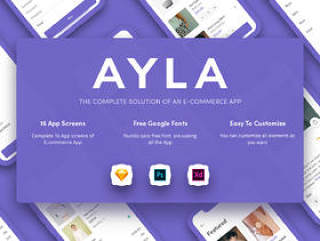 用于Sketch,Photoshop和XD的iOS电子商务UI工具包,Ayla电子商务UI工具包