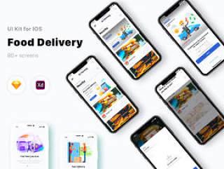 Adobe XD和Sketch Food Delivery UI Kit,Food Delivery App V 2.0
