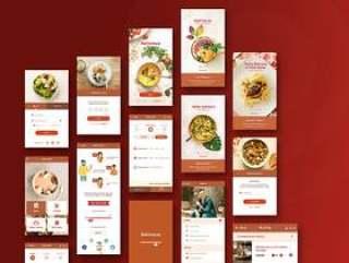 用于餐馆和食品的UI工具包订购PSD和草图的移动应用程序,美味的UI工具包