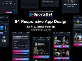 64个iOS屏幕界面素材Dark&white体育博彩iOS UI工具包(含Sketch源文件格式)
