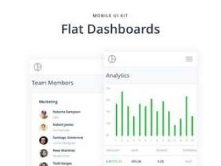 用于Sketch和XD,Mobile Flat Dashboards UI Kit的48个Flat Dashboard UI屏幕