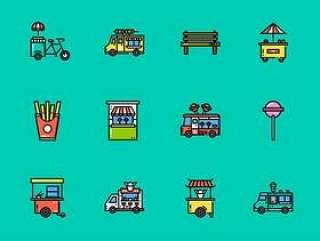 60 枚食物餐车图标