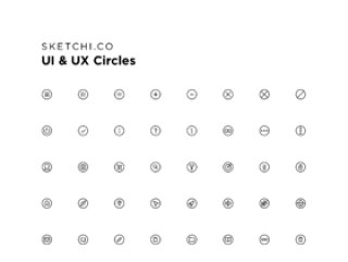 任何应用程序界面,UI和UX圈图标的标准图标集合
