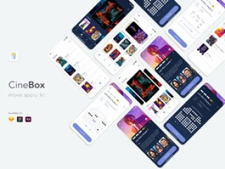 CineBox Movie App UI工具包,使用Sketch,XD和Figma,CineBox Movie App UI UX Kit设计