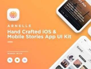 适用于Photoshop,Sketch和Adobe XD的优雅iOS社交媒体应用UI工具包,Arnelle iOS UI工具包