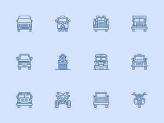 30 枚交通工具线性图标