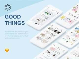 28款美丽的电子商务iPhone 8手机屏幕,适用于Sketch。,MeiWu APP UI套件