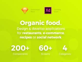 对于餐厅,食谱,社交网络和电子商务,有机食品UI工具包