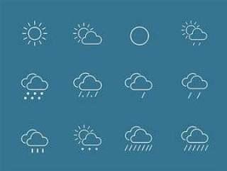 25 枚线性天气图标