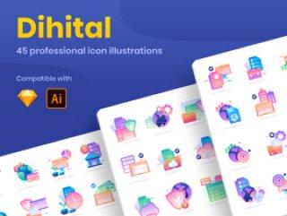 有45个令人敬畏的独特的图标插图与数据安全,财务和业务主题,数字:金融业务数据图