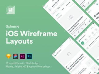 用于iOS原型设计的270多种布局的大量集合,Scheme iOS Wireframe Kit