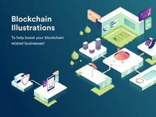 用于移动和桌面的区块链插图包,区块链插图