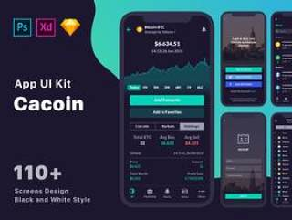 110+ Screen UI Kit Coin Cryptocurrency Market App在Sketch,Photoshop,Adobe XD,CaCoin Crypto Market中的应用