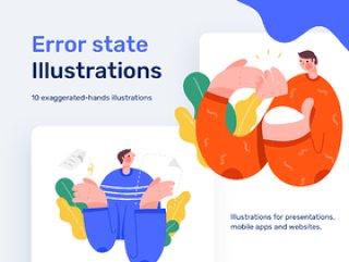 网站和移动错误说明插图,错误状态插图